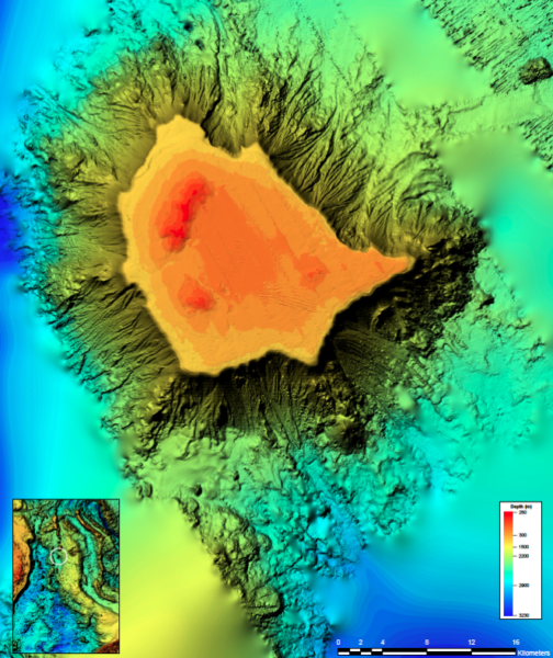 Bathymetric false-colour image of the Gifford Guyot