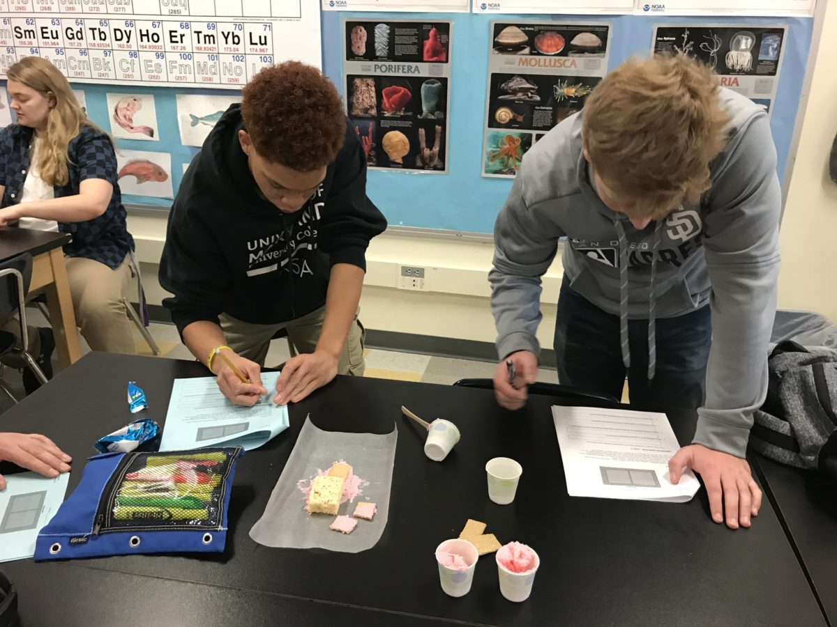 Students working on a plate tectonics lab