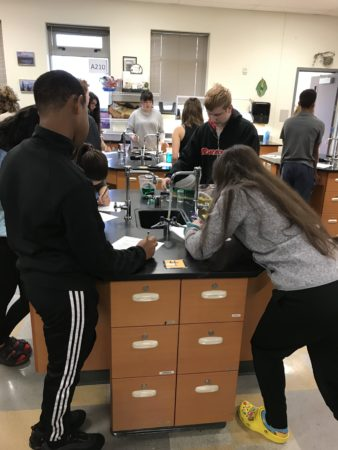 Oceanography students learning thermohaline circulation with the water density lab
