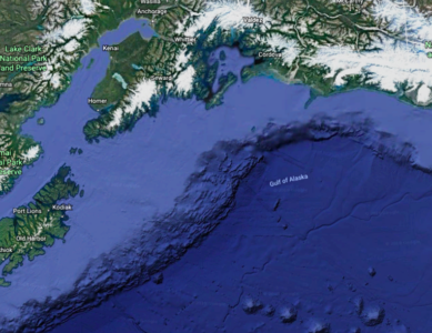The Continental Shelf along South Central Alaska