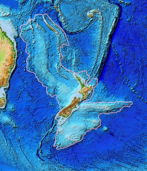 Topographical map of the Zealandia continent.