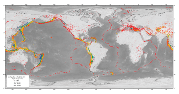 Map showing earthquakes from 2003-2011 with magnitude greater than 3.